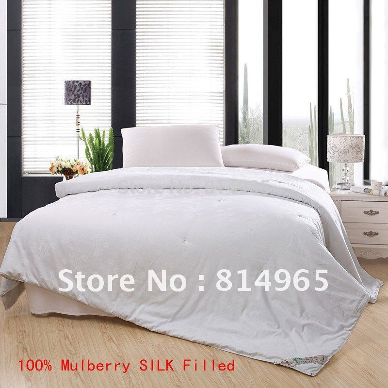 100 Mulberry Silk Filled Winter 450gsm White Top Grade Duvet Quilt Comforter Twin Or Make Any Size In Comforters Duvets From Home Garden On