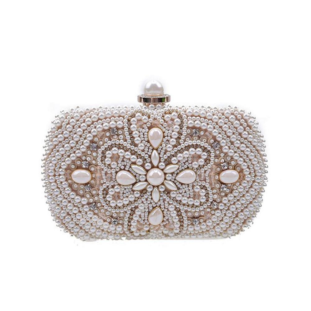 Vintage Pearl Rhinestone Clutch Purse Evening Wedding Chain Shoulderbag