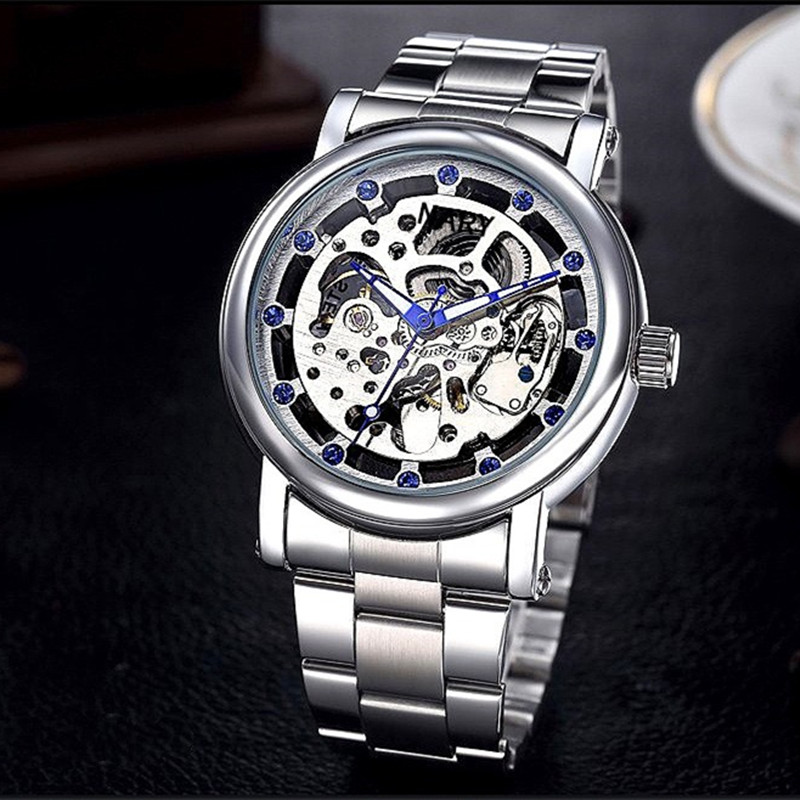Top Brand Luxury Shenhua Blue Crystal Mechanical Skeleton Watches Men Luminous 100M Waterproof Automatic Machinery Wrist Watch