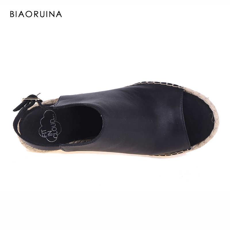 BIAORUINA kadın sandalet balık ağzı el yapımı kenevir takozlar moda yüksek topuk platformu açık ayak kadın sandalet ayakkabı geri tokaları