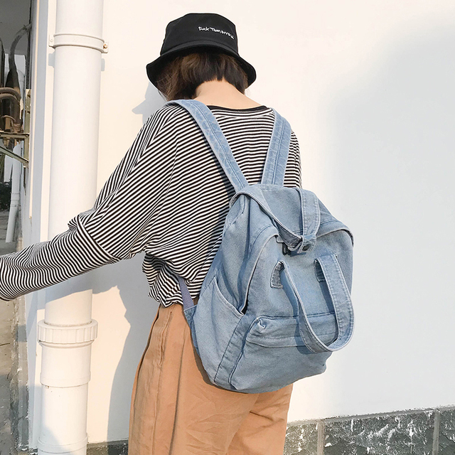 2019 New Denim Canvas Women Backpack Drawstring School Bags For Teenagers Girls Small Backpack Female Rucksack Mochilas B-020