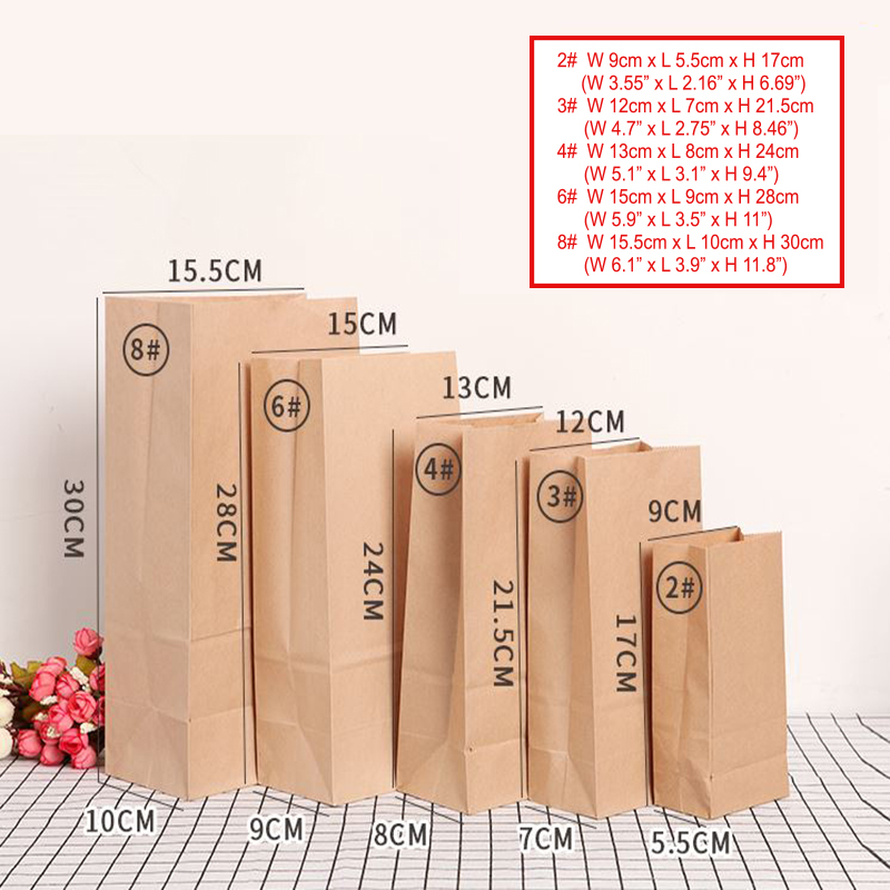 Paper Bag Brown Kraft Paper Bag Gift Bags Packing Biscuits Candy Food  Bread Cookie Bread Nuts Snack Baking Package