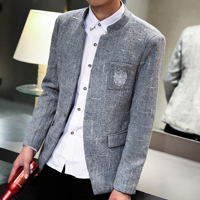New 2017 fashion stand collar men blazer slim fit mens blazer jacket  costume homme men's clothing