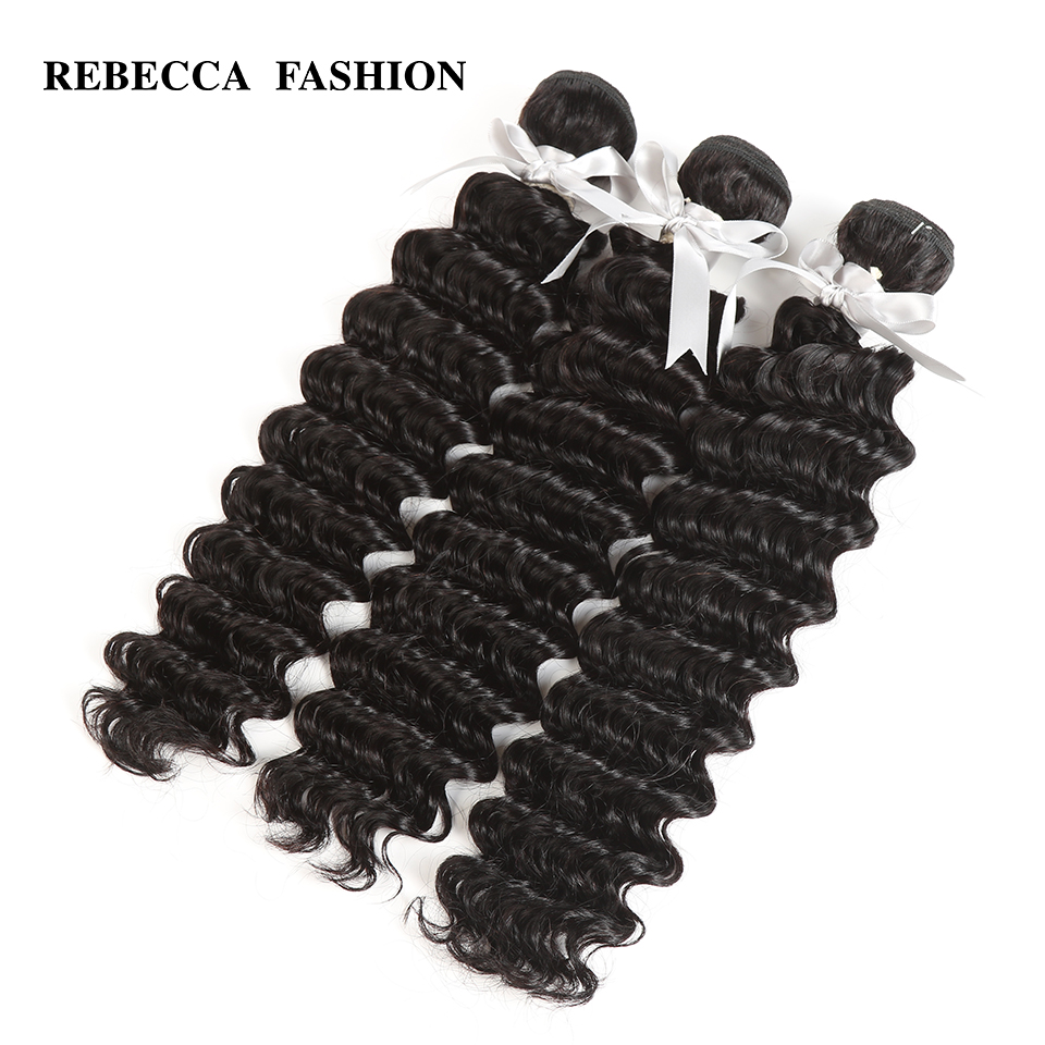Rebecca Malaysian Deep Wave Human Hair Bundles Non Remy 10 26 Inch Deep Weave Hair Extensions