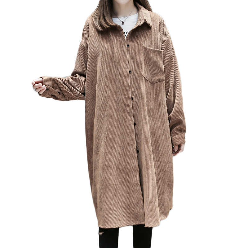 New Plus Size 2017 Women   Trench   Coat Loose Fat Younger Sister Corduroy Coats Brown Black 8268