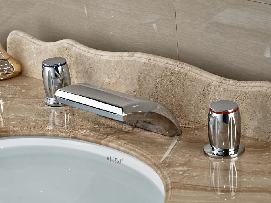 Brief Deck Mounted Chrome Brass Waterfall Mixer Tap Bathroom Bathtub Faucet With Double Handle 3PCS polished chrome deck mounted bathroom kitchen faucet tap single handle with brass soap dispenser