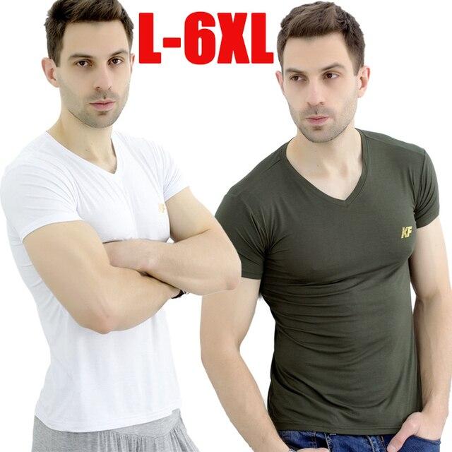 בתוספת גודל L-6XL גברים קיץ t חולצות אופנה 2017 חדש במבוק סיבי כותנה רך באיכות גבוהה V-צוואר קצר שרוול מזדמן חולצות