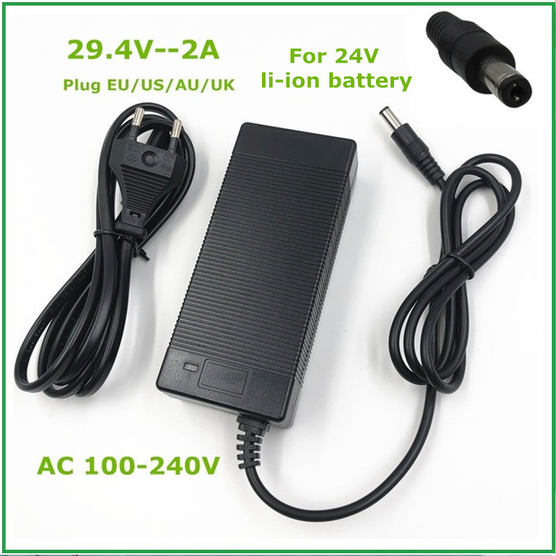 NEW High Quality 29.4V 2A Electric Bike Lithium Battery Charger For 24V 2A Lithium Battery Pack DC Plug Connector Charger