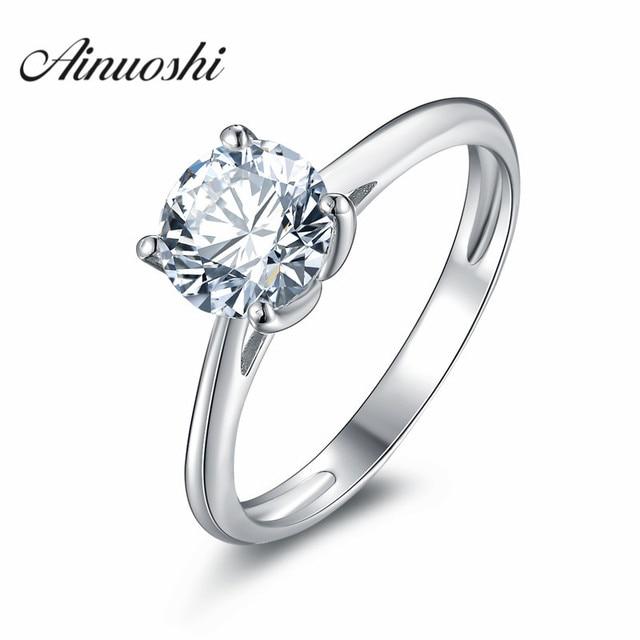 Aliexpresscom Buy AINOUSHI Classic Round Cut Wedding Ring NSCD