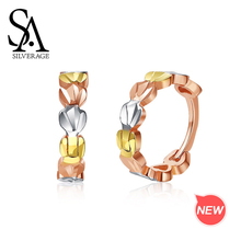 SA SILVERAGE Gold Earrings Circle 18K for Women Lottery/Rose Gold/White Heart Shape Hoop Woman
