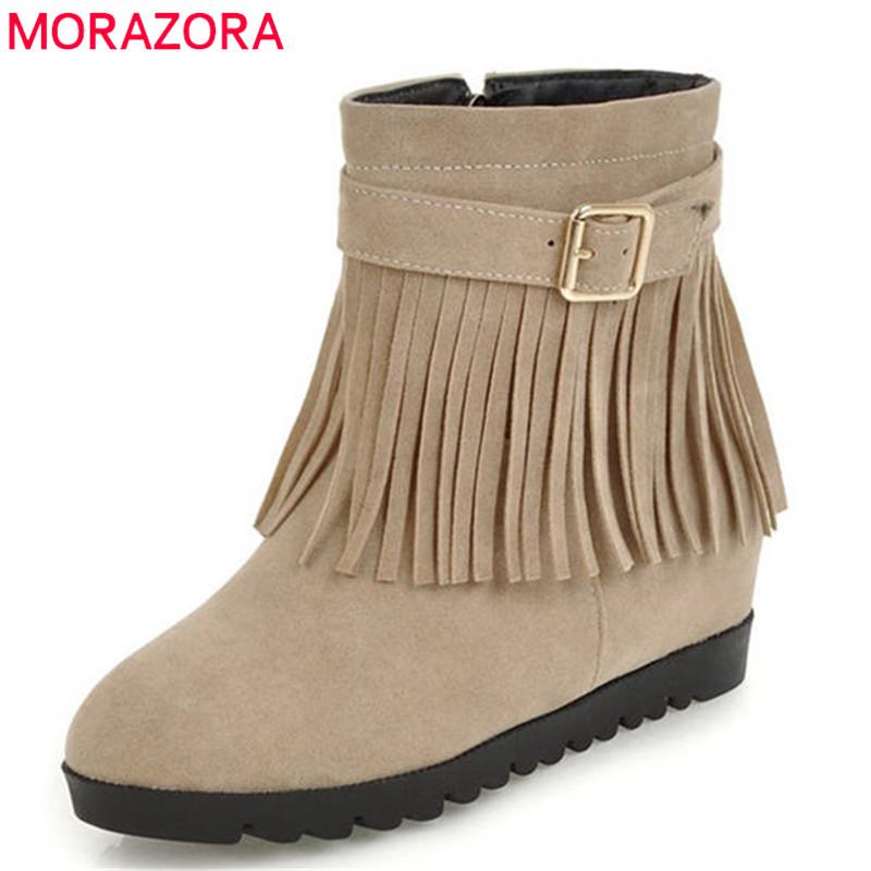 MORAZORA 2018 big size 34-43 round toe autumn winter ankle boots for women Tassels fashion party shoes high heels ladies bootsMORAZORA 2018 big size 34-43 round toe autumn winter ankle boots for women Tassels fashion party shoes high heels ladies boots