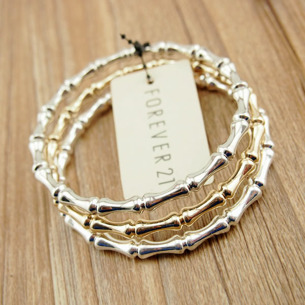 Fashion Jewelry Accessories Metal Bamboo Bracelets Bangles Set 1 Silver Rhodium
