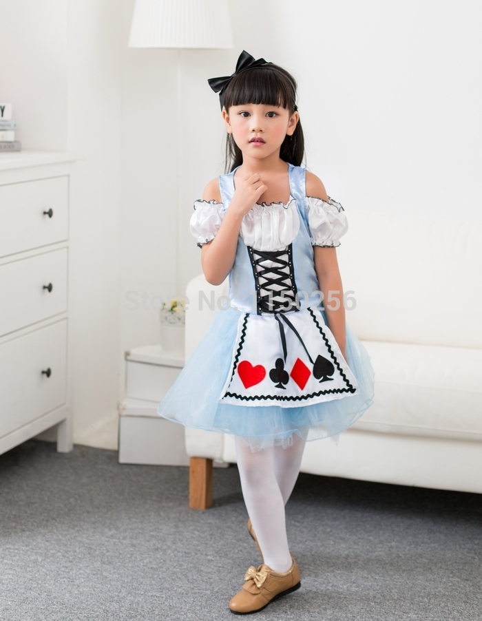 Free Shipping Alice in Wonderland Dress Kawaii Halloween Party Carnival Christmas Maid Costume/Dress For Kids New