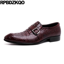 d0154f688855 Formal Snake Alligator Burgundy Crocodile Italian Italy Skin Python Leather  Men Dress Shoes With Buckled Monk