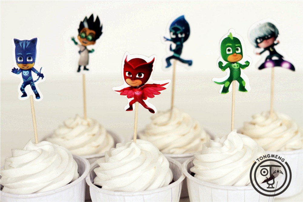 24pcs PJmasks Cake Decorating Tools Fruits Cupcake Inserted Card Stands Baking Supplies for Kids