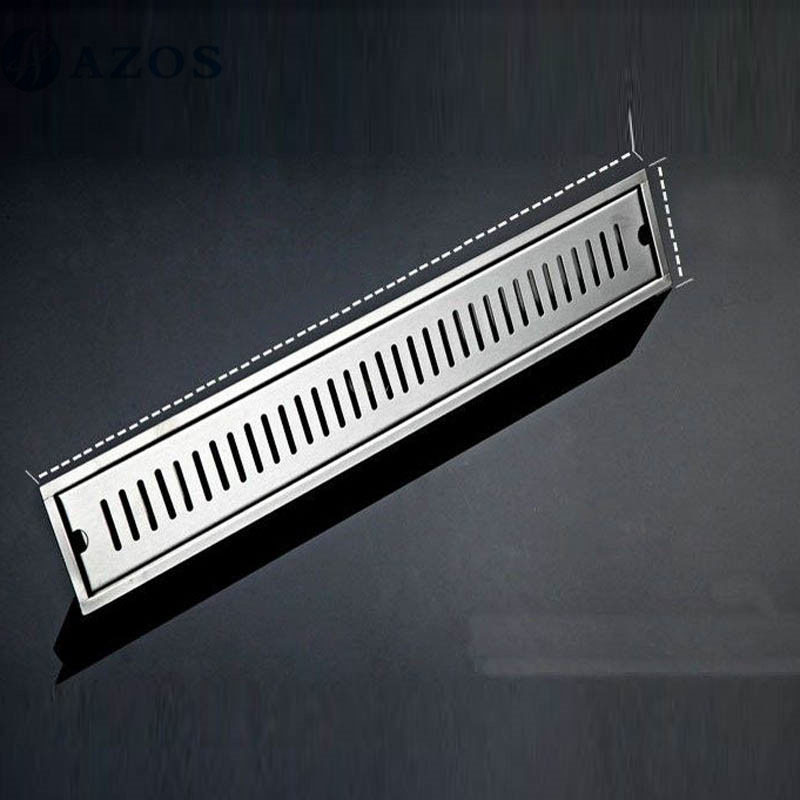 40CM 304 Stainless Steel Linear Nickel Brushed Toilet Floor Drain Strainer Grates Waste Bathroom Shower Overflow Part PJDL015-2 mayitr stainless steel linear shower ground floor drain grate mesh sink strainer bathroom tool 900mm
