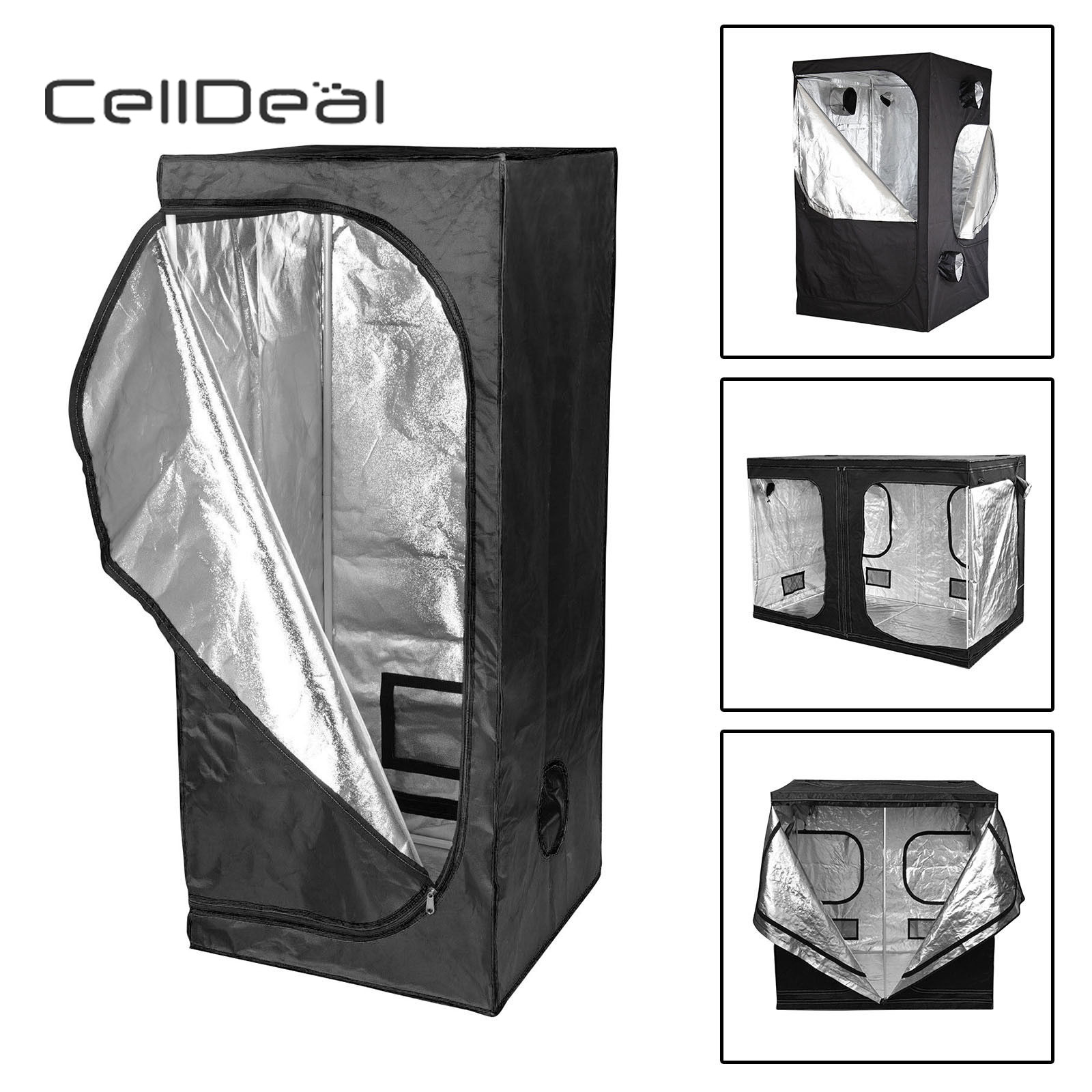 CellDeal Premium Grow Tent Silver Mylar Indoor Bud Box Hydroponics Dark Room Sizes Grow Tent Oxford Cloth Grow Tent Hydroponic image