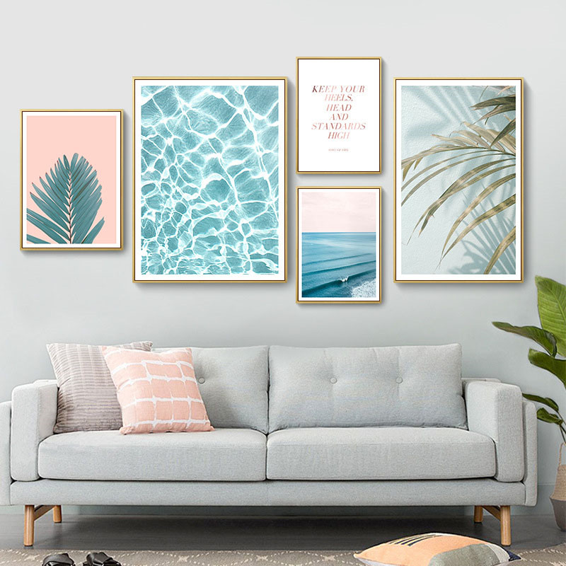 Home & Garden Nordic Pink Leaf Posters And Prints Desert Beach Canvas Painting Wall Pictures For Living Room Cuadros Decoracion Unframed