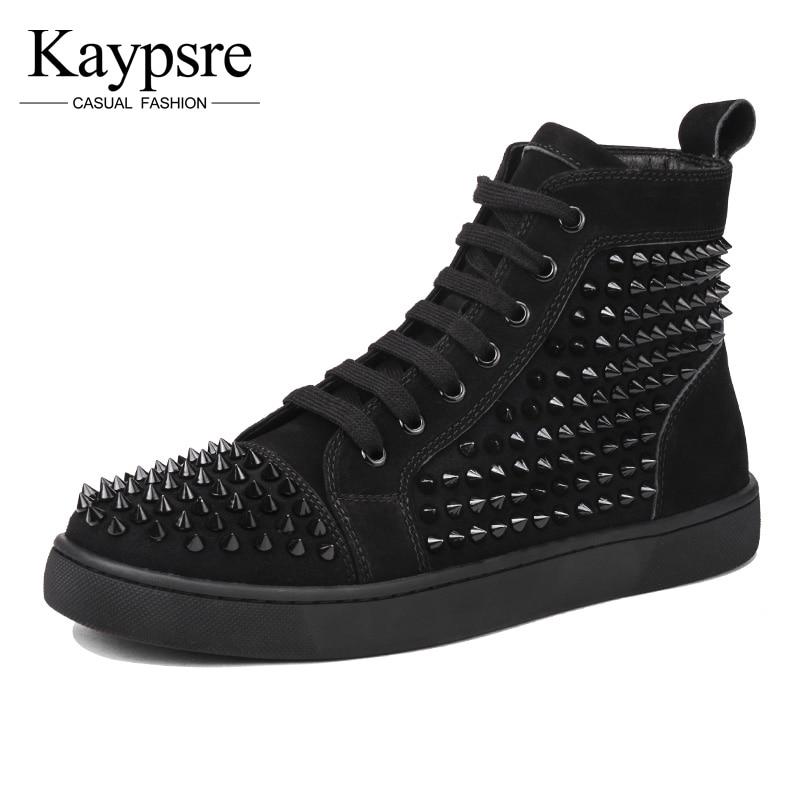 Kaypsre winter Real leather leisure high help skateboard shoes men Rivet breathable shoes верещагина и притыкина т english 1 класс учебник cd