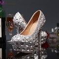 Роскошные выпускные ну вечеринку пром обувь на высоких каблуках серебряная стразами свадебный свадебные туфли алмаз туфли свадебные ну вечеринку