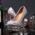 Luxury Graduation Party Prom Shoes High Heel Silver Crystals Rhinestones Bridal wedding shoes Diamond Lady Shoes Wedding Party