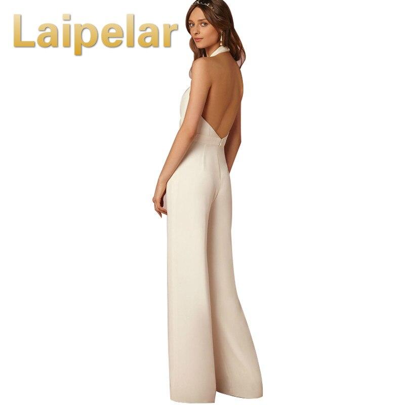 Laipelar 2018 New Casual Wedding Jumpsuit Sexy Sleeveless Halter Elegant Jumpsuit Ladies Coverall Deep V Sexy Halter Jumpsuit