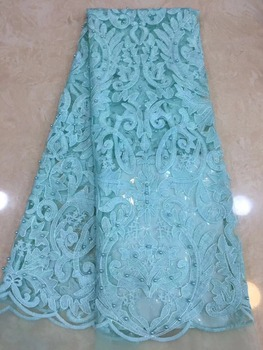 Latest Sequin French Nigerian Laces Fabric High Quality Tulle African Laces Fabric Wedding African French Tulle Lace TS7313