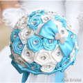 Blue Ivory Satin Flower Bridal Bouquet with Crystal Rhinestone Wedding Guest Hand Flower Maid of Honor flower