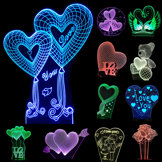 Valentines day Gift 3D Lamp LED Night Light 7 Colors Table Lampe ...