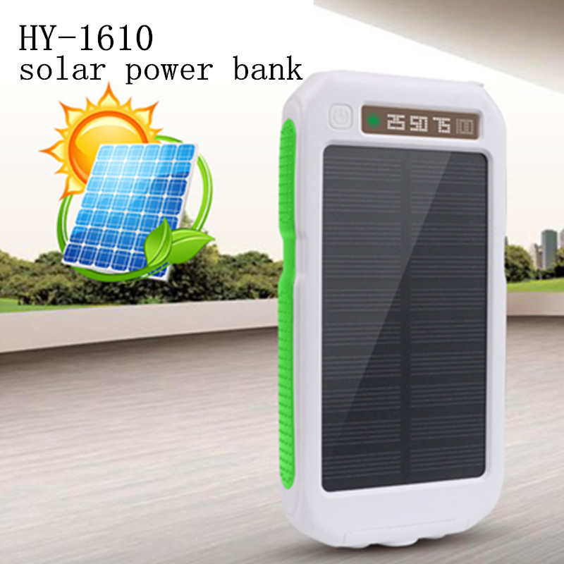 Цена за Водонепроницаемый с фонариком HY-1610 цифровой дисплей три анти-мобильный банк Солнечное PowerBank 20000 мАч солнечной энергии Банк