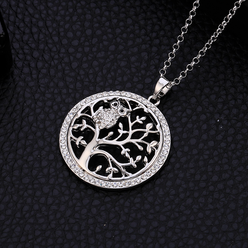 Små Uggla Halsband Tree Of Life Hänge Rose Gold Women Sweater Chain - Märkessmycken - Foto 5