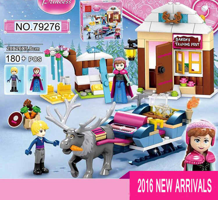 41066 Princess Anna and Kristoff Sleigh Building Brick Blocks Sets Children Gift Kids toys Compatible with Lepine Friends 2017 hot sale girls city dream house building brick blocks sets gift toys for children compatible with lepine friends