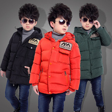 Long Boys Winter Jacket Thick Kids Winter Coat Down Cotton Padded Children Winter Outwear For 5 To 12 Years Old Children