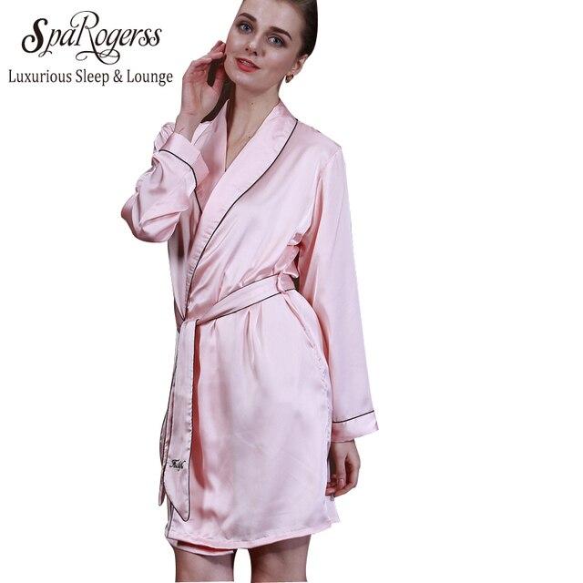 Яо Ting Женщины Одеяния 2017 Топ Мода Лето Леди Пижамы искусственный Шелк С Длинным Рукавом Уютный Банный Халат Сна Lounge Женский пижамы