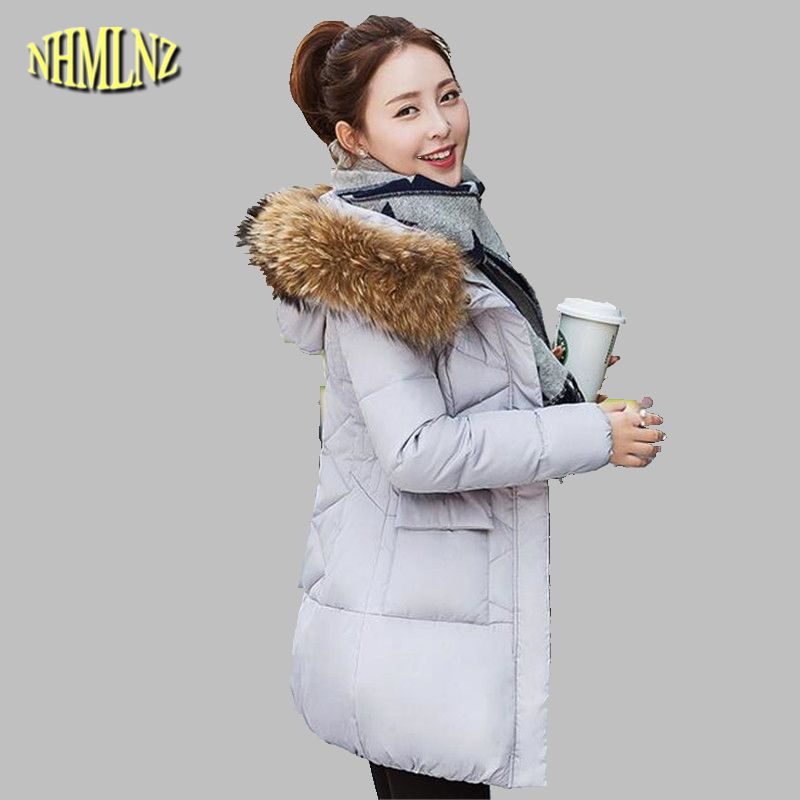 2017 Winter Jacket Latest Fashion Women Down jacket Large size Slim Hooded Fur collar Jacket Thick Warm Cotton Coat Women G2842