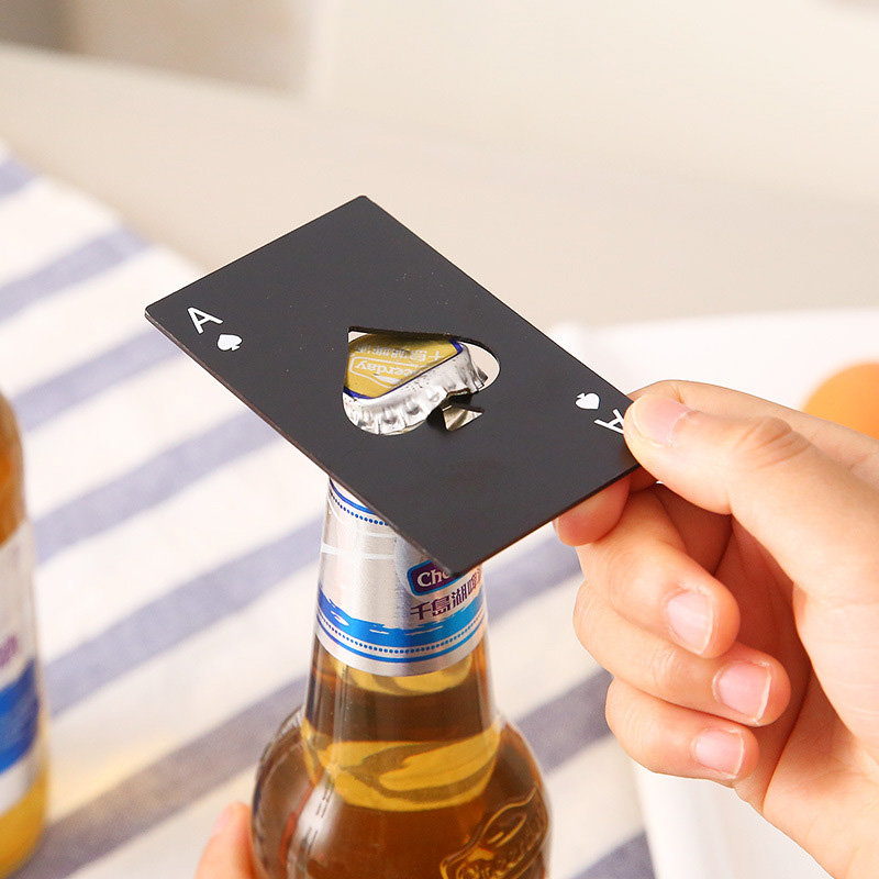 Poker Card Beer Bottle Opener Tool Stainless Steel Credit Card Bottle Opener Card Of Spades Bar Tool Kitchen Party Black/Silver