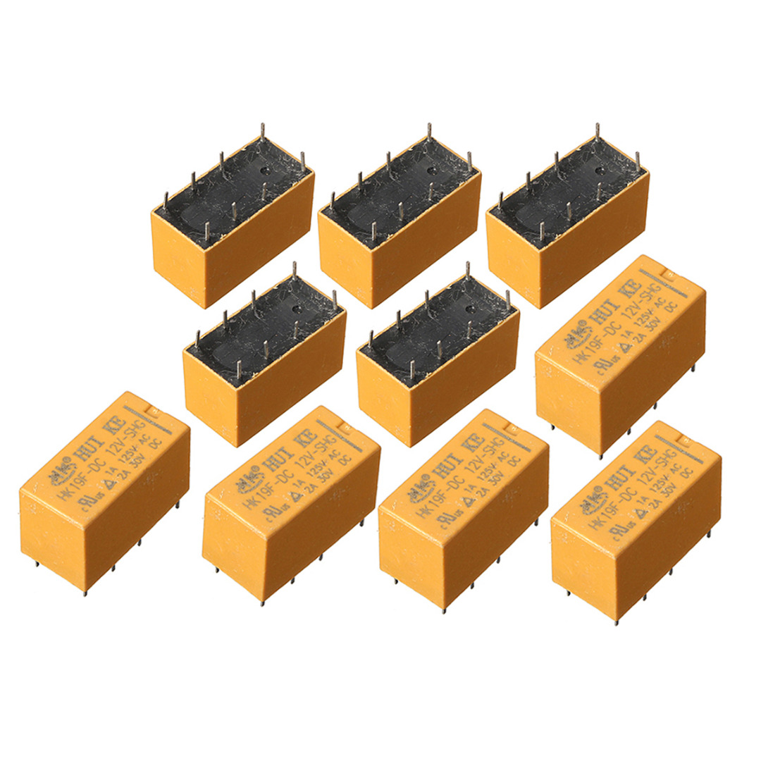 10pcs HK19F Power Relay DC 12V SHG Coil DPDT 8 Pin Mini Power Relays Set PCB Type For Remote Control Electronic Equipment Mayitr hh54pl ac 220 240v coil 14 pin 4pdt red led indicator lamp power relay 10 pcs
