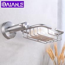 цены Draining Soap Dish Storage Holder Stainless Steel Bathroom Soap Holder Shower Wall Mounted Bathroom Shelf Soap Dishes Box Basket