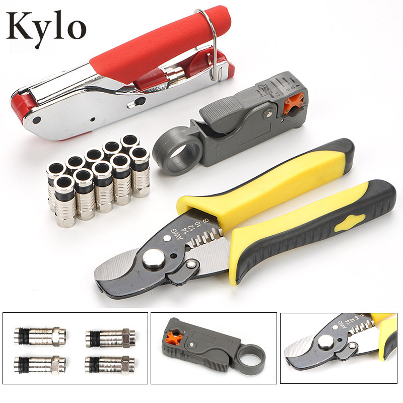 Coaxial Cable Manual Crimping Tool Set Kit For F Connector RG59 RG6 Coax Cable Crimper With Wire Stripping Plier Set