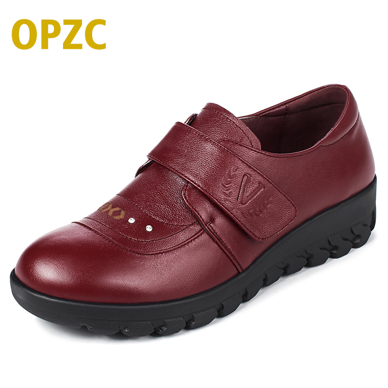 OPZC 2018 autumn new Genuine Leather Women Shoes, soft Loafers Slip-On Female Flats for mother shoes. plus size 41 42 43 aiyuqi 2018 spring new genuine leather women shoes shallow mouth casual shoes plus size 41 42 43 mother shoes female page 9