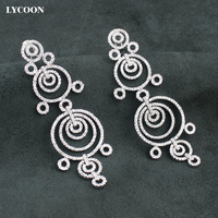 LYCOON women exaggerated circle link party dangle earrings Cubic Zirconia dazzling earrings brilliant wedding Jewelry for women