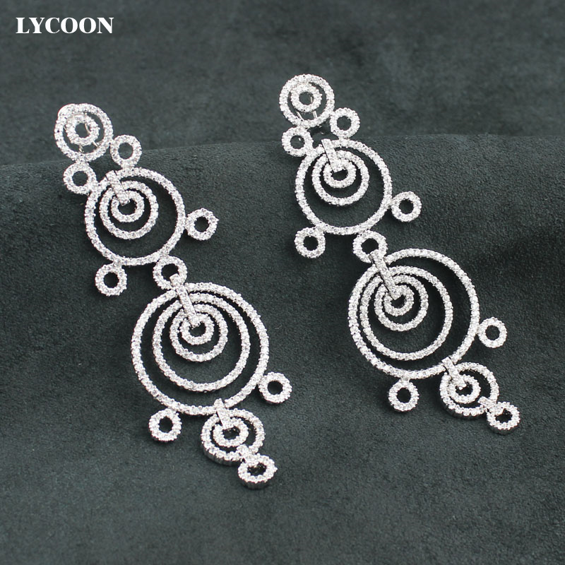 LYCOON women exaggerated circle link party dangle earrings Cubic Zirconia dazzling earrings brilliant wedding Jewelry for women цена 2017