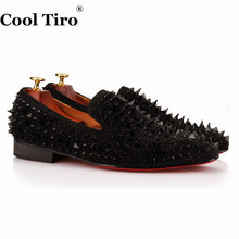 COOL TIRO New Handmade Black suede miscellaneous nail Spike Red bottom Luxury Handmade Fashion Shoes Party Slip-on men Flats