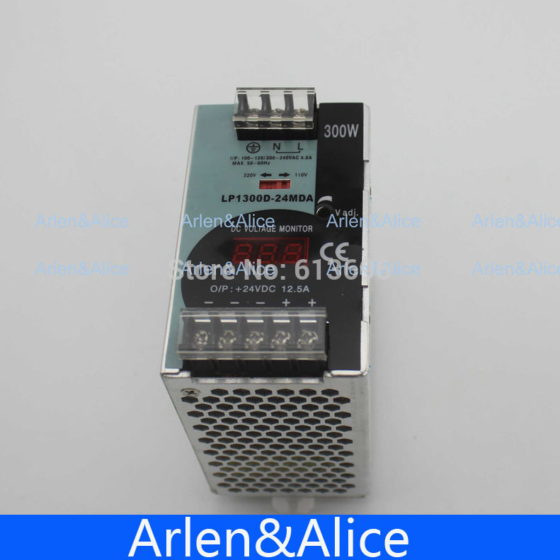 300W 24V 12.5A Mini size Din Rail Single Output Switching power supply with voltmeter voltage display montior 100-240V input цена