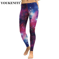 YOUKENITI New 3D Digital Printing Galaxy Print Fashion Woman Ankle Length Pants Super Elastic Push Up