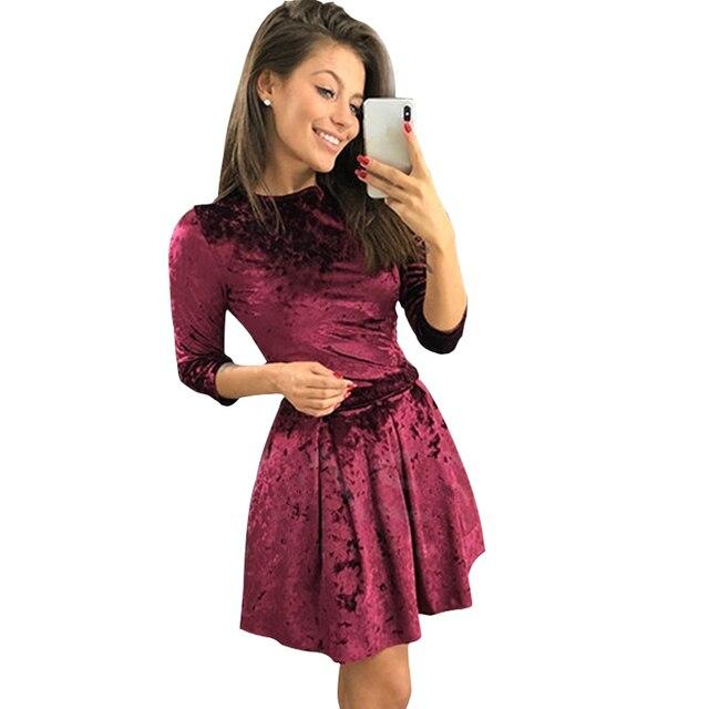03dbbfae03 Womens Velvet Dress 2018 Autumn Fashion O-neck Three Quarter Sleeve Dresses  Casual Loose Party Dress Vintage Vestido Femme LC143