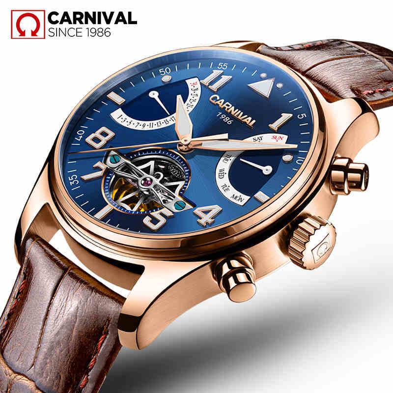 relogio masculino Sapphire TopBrand Carnival Automatic Watches Men Tourbillon Mechanical waterproof Clock Fashion Leather Luxury sapphire