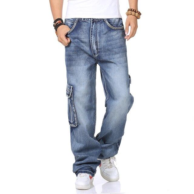 Masculino Hip Hop Largas calças de Carga calças de Brim Dos Homens Reta  Solta Calça Jeans f3f08a8b8cb