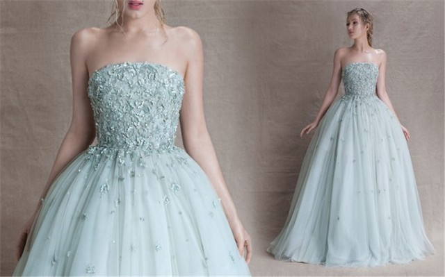 4c88014847aa Sexy Backless Summer Evening Dress Strapless Ball Gown Design with Flower  AppliquesTulle Long Prom Gowns 2015 Paolo Sebastian