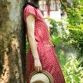 VEYDU 2017 summer chinese style dress sleeveless long dress O-neck cotton dress waistband printing straight One-piece dress